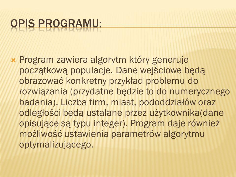  Program zawiera algorytm który generuje początkową populacje.