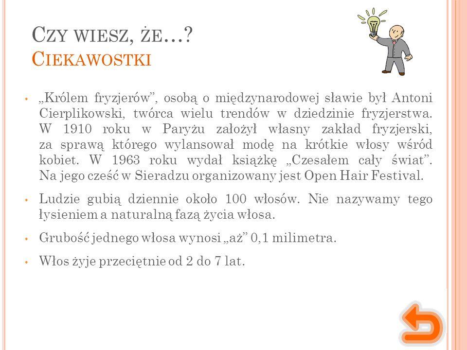 """C ZY WIESZ, ŻE …? C IEKAWOSTKI """"Królem fryzjerów"""", osobą o międzynarodowej sławie był Antoni Cierplikowski, twórca wielu trendów w dziedzinie fryzjers"""