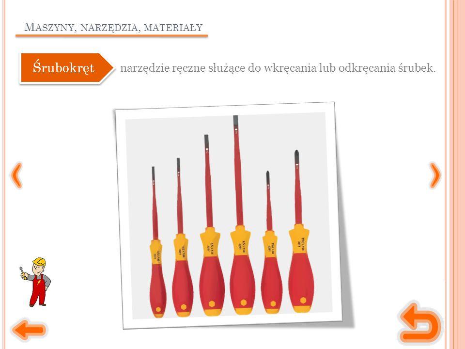 M ASZYNY, NARZĘDZIA, MATERIAŁY narzędzie ręczne służące do wkręcania lub odkręcania śrubek.