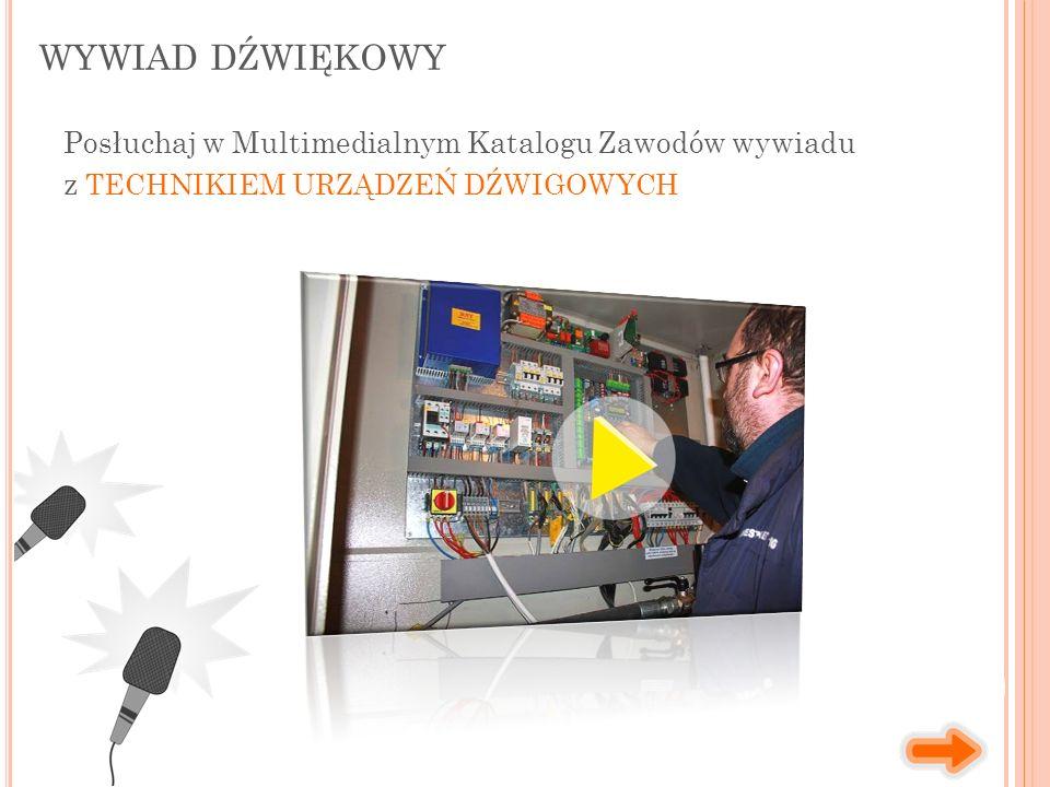 WYWIAD DŹWIĘKOWY Posłuchaj w Multimedialnym Katalogu Zawodów wywiadu z TECHNIKIEM URZĄDZEŃ DŹWIGOWYCH
