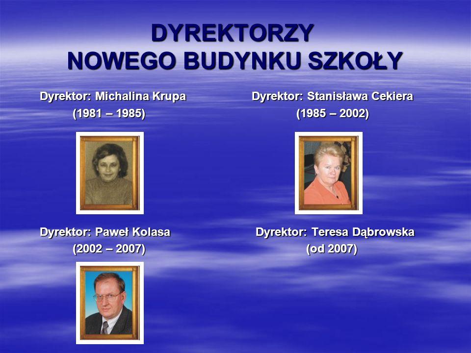 DYREKTORZY NOWEGO BUDYNKU SZKOŁY Dyrektor: Michalina Krupa Dyrektor: Stanisława Cekiera Dyrektor: Michalina Krupa Dyrektor: Stanisława Cekiera (1981 – 1985) (1985 – 2002) (1981 – 1985) (1985 – 2002) Dyrektor: Paweł Kolasa Dyrektor: Teresa Dąbrowska Dyrektor: Paweł Kolasa Dyrektor: Teresa Dąbrowska (2002 – 2007) (od 2007) (2002 – 2007) (od 2007)