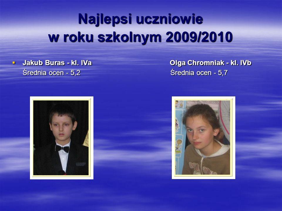 Najlepsi uczniowie w roku szkolnym 2009/2010  Jakub Buras - kl.