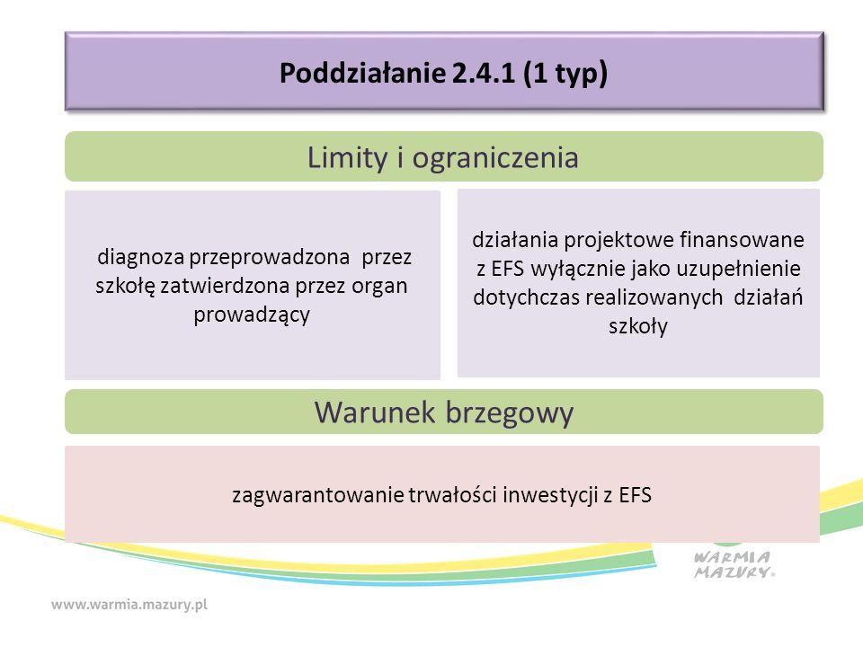 Poddziałanie 2.4.1 (1 typ ) Limity i ograniczenia diagnoza przeprowadzona przez szkołę zatwierdzona przez organ prowadzący działania projektowe finansowane z EFS wyłącznie jako uzupełnienie dotychczas realizowanych działań szkoły Warunek brzegowy zagwarantowanie trwałości inwestycji z EFS