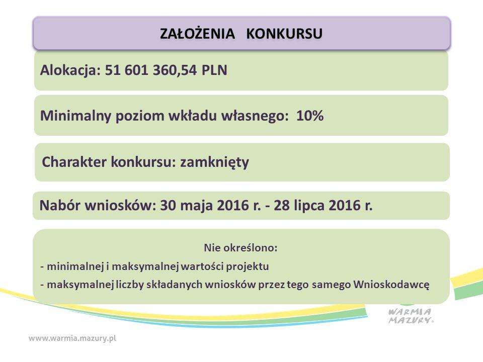 Alokacja: 51 601 360,54 PLN Minimalny poziom wkładu własnego: 10% Charakter konkursu: zamknięty Nabór wniosków: 30 maja 2016 r.