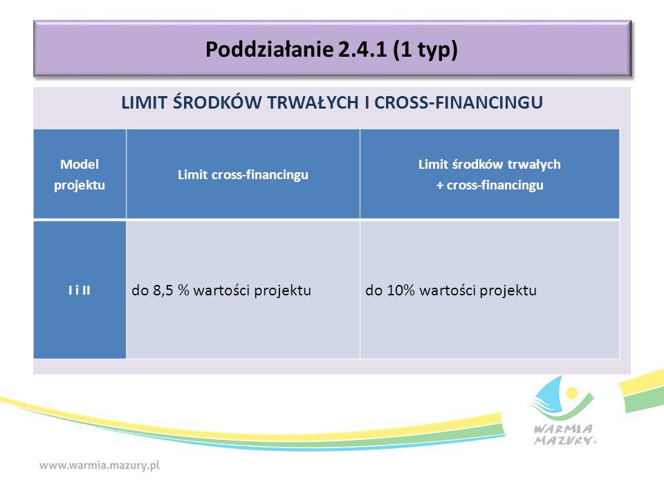 LIMIT ŚRODKÓW TRWAŁYCH I CROSS-FINANCINGU Poddziałanie 2.4.1 (1 typ) Model projektu Limit cross-financingu Limit środków trwałych + cross-financingu I i II do 8,5 % wartości projektudo 10% wartości projektu