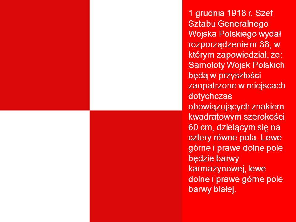 1 grudnia 1918 r. Szef Sztabu Generalnego Wojska Polskiego wydał rozporządzenie nr 38, w którym zapowiedział, że: Samoloty Wojsk Polskich będą w przys