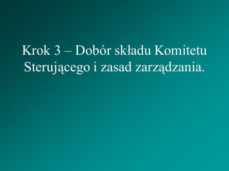 Krok 3 – Dobór składu Komitetu Sterującego i zasad zarządzania.