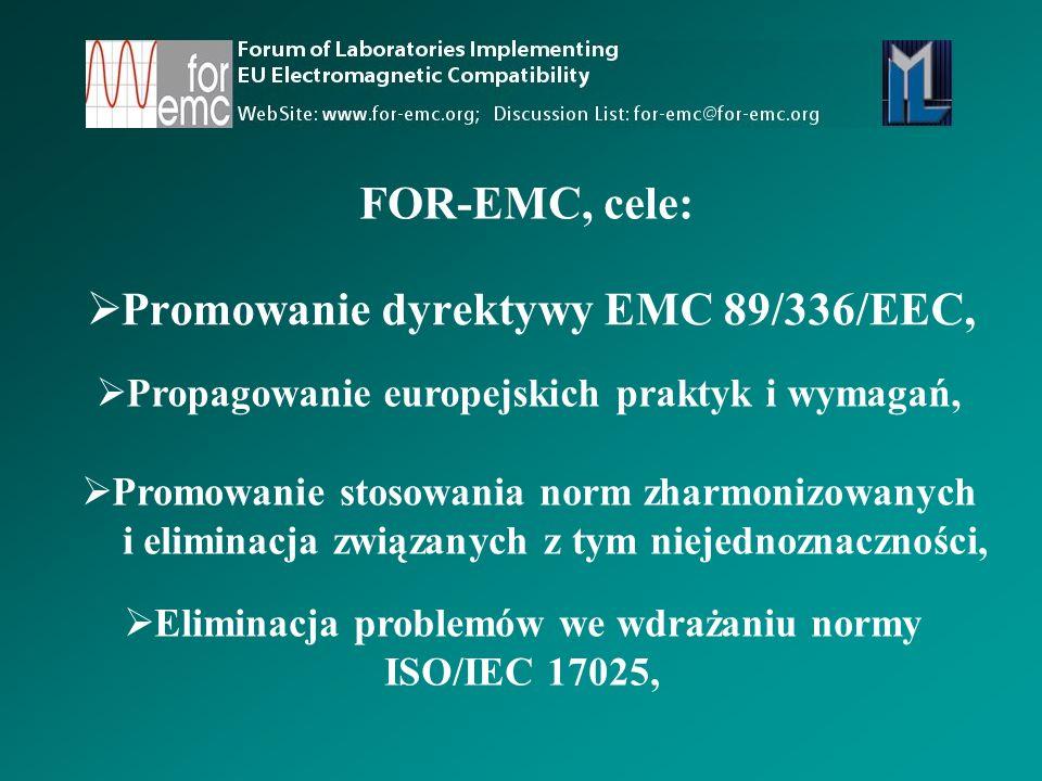  Promowanie dyrektywy EMC 89/336/EEC,  Propagowanie europejskich praktyk i wymagań,  Promowanie stosowania norm zharmonizowanych i eliminacja związanych z tym niejednoznaczności,  Eliminacja problemów we wdrażaniu normy ISO/IEC 17025, FOR-EMC, cele: