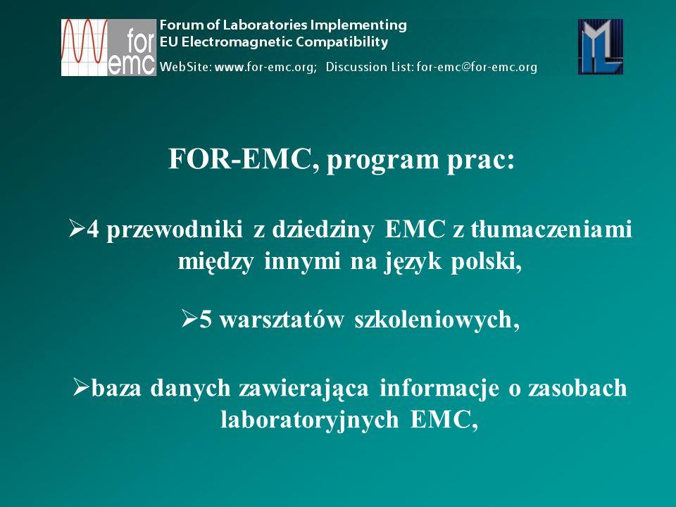  4 przewodniki z dziedziny EMC z tłumaczeniami między innymi na język polski,  5 warsztatów szkoleniowych,  baza danych zawierająca informacje o zasobach laboratoryjnych EMC, FOR-EMC, program prac: