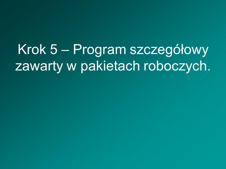 Krok 5 – Program szczegółowy zawarty w pakietach roboczych.