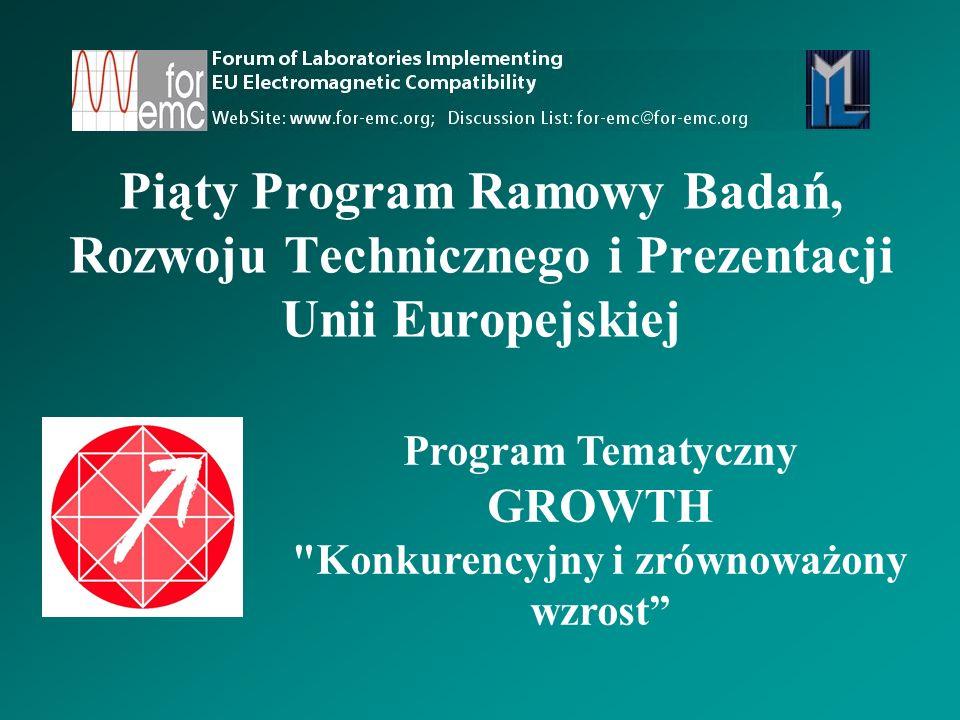 Piąty Program Ramowy Badań, Rozwoju Technicznego i Prezentacji Unii Europejskiej Program Tematyczny GROWTH Konkurencyjny i zrównoważony wzrost
