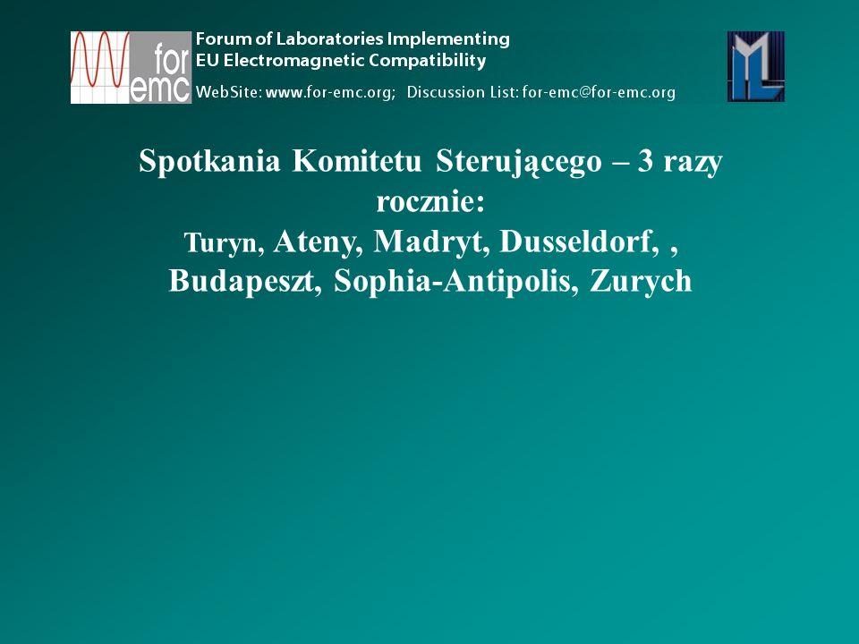 Spotkania Komitetu Sterującego – 3 razy rocznie: Turyn, Ateny, Madryt, Dusseldorf,, Budapeszt, Sophia-Antipolis, Zurych