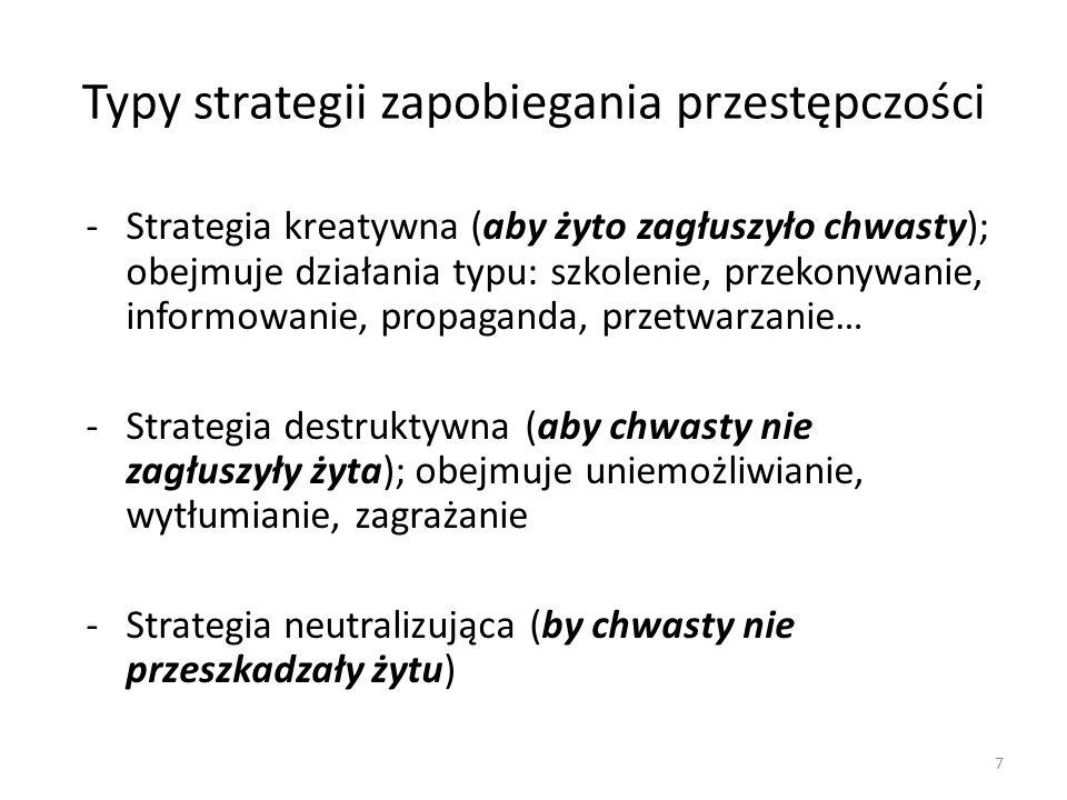 8 Typy strategii zapobiegania przestępczości Strategie kreatywne Strategie neutralizująceStrategie destruktywne Przedmiot działań: zjawiska pozytywne Metody nierepresyjne Przedmiot działań: zjawiska negatywne Metody represyjne