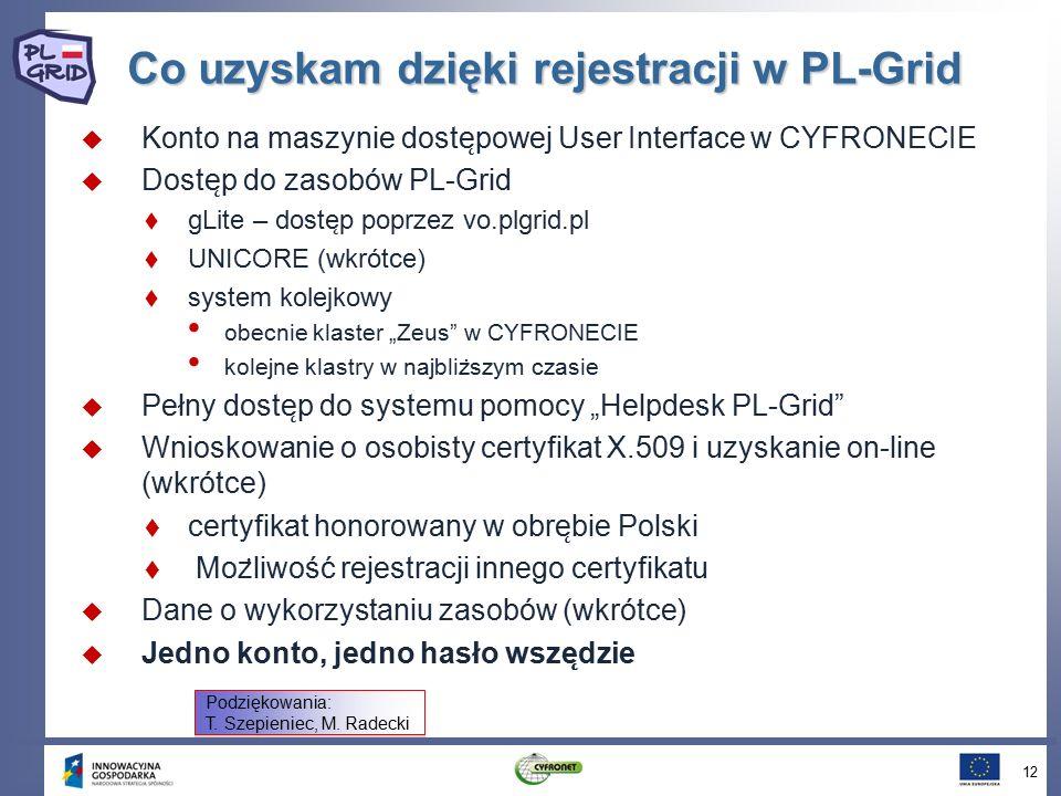 """Co uzyskam dzięki rejestracji w PL-Grid  Konto na maszynie doste ̨ powej User Interface w CYFRONECIE  Doste ̨ p do zasobów PL-Grid  gLite – doste ̨ p poprzez vo.plgrid.pl  UNICORE (wkrótce)  system kolejkowy obecnie klaster """"Zeus w CYFRONECIE kolejne klastry w najbliz ̇ szym czasie  Pełny doste ̨ p do systemu pomocy """"Helpdesk PL-Grid  Wnioskowanie o osobisty certyfikat X.509 i uzyskanie on-line (wkrótce)  certyfikat honorowany w obre ̨ bie Polski  Moz ̇ liwość rejestracji innego certyfikatu  Dane o wykorzystaniu zasobów (wkrótce)  Jedno konto, jedno hasło wsze ̨ dzie 12 Podziękowania: T."""