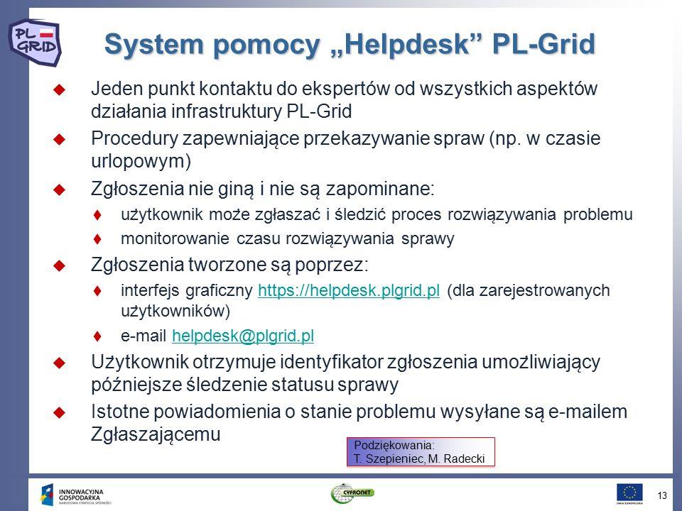 """System pomocy """"Helpdesk"""" PL-Grid  Jeden punkt kontaktu do ekspertów od wszystkich aspektów działania infrastruktury PL-Grid  Procedury zapewniaja ̨"""