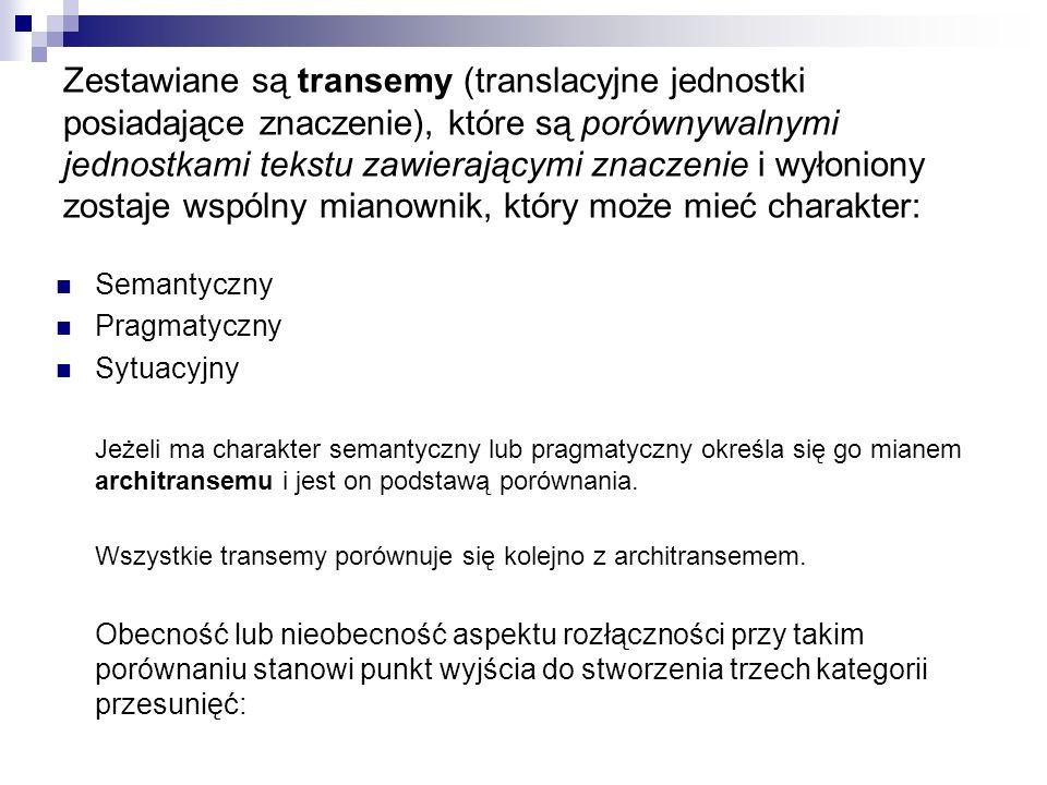 Zestawiane są transemy (translacyjne jednostki posiadające znaczenie), które są porównywalnymi jednostkami tekstu zawierającymi znaczenie i wyłoniony zostaje wspólny mianownik, który może mieć charakter: Semantyczny Pragmatyczny Sytuacyjny Jeżeli ma charakter semantyczny lub pragmatyczny określa się go mianem architransemu i jest on podstawą porównania.