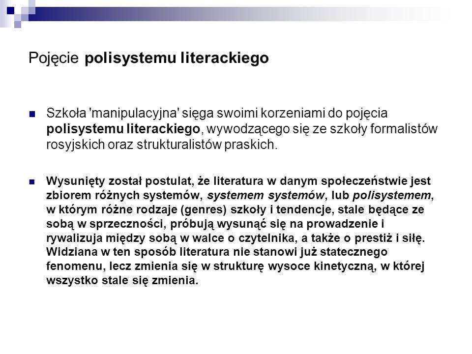 Pojęcie polisystemu literackiego Szkoła manipulacyjna sięga swoimi korzeniami do pojęcia polisystemu literackiego, wywodzącego się ze szkoły formalistów rosyjskich oraz strukturalistów praskich.