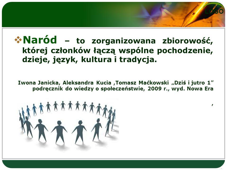 LOGO  Naród – to zorganizowana zbiorowość, której członków łączą wspólne pochodzenie, dzieje, język, kultura i tradycja.