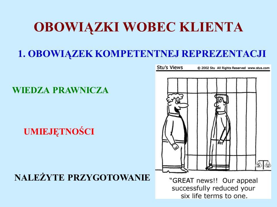 OBOWIĄZKI WOBEC KLIENTA 1.