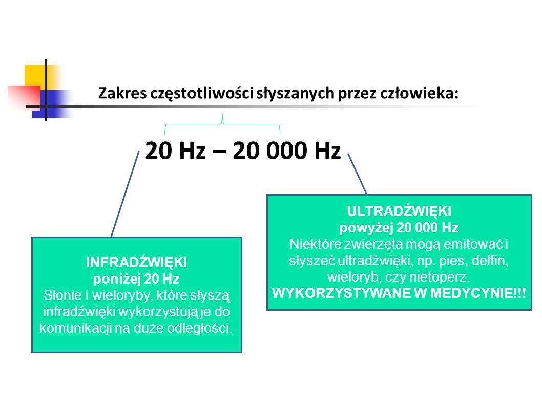 Zakres częstotliwości słyszanych przez człowieka: 20 Hz – 20 000 Hz INFRADŹWIĘKI poniżej 20 Hz Słonie i wieloryby, które słyszą infradźwięki wykorzyst