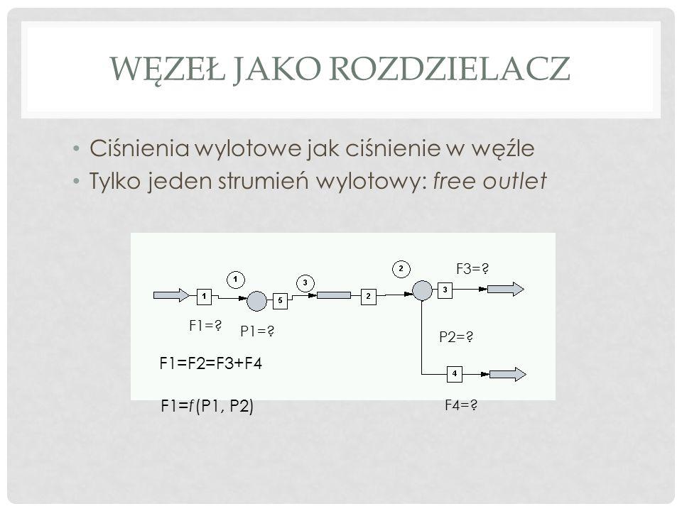 WĘZEŁ JAKO ROZDZIELACZ Ciśnienia wylotowe jak ciśnienie w węźle Tylko jeden strumień wylotowy: free outlet P1=.