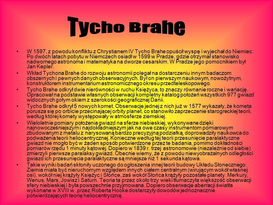 W 1597, z powodu konfliktu z Chrystianem IV Tycho Brahe opuścił wyspę i wyjechał do Niemiec.