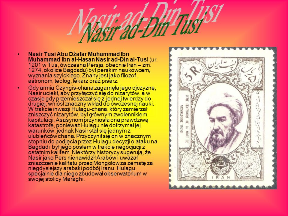 Nasir Tusi Abu Dżafar Muhammad Ibn Muhammad Ibn al-Hasan Nasir ad-Din al-Tusi (ur.