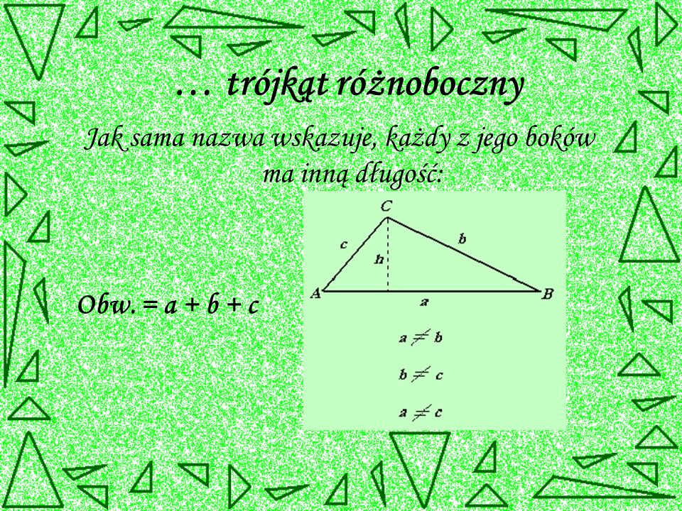 … trójkąt różnoboczny Jak sama nazwa wskazuje, każdy z jego boków ma inną długość: Obw. = a + b + c