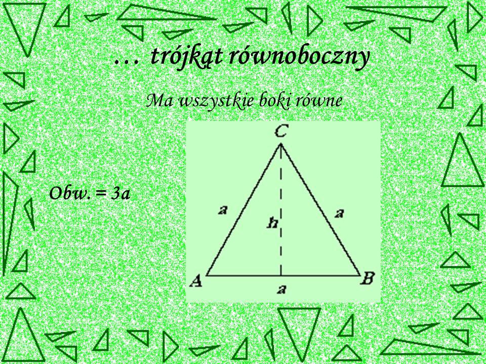 … trójkąt równoboczny Ma wszystkie boki równe Obw. = 3a