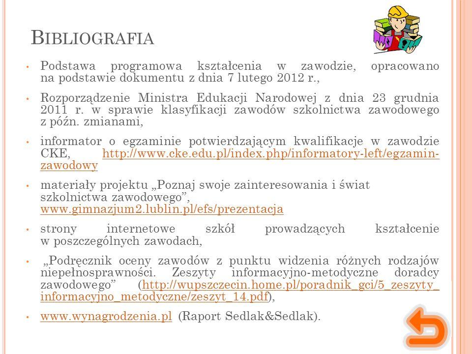 B IBLIOGRAFIA Podstawa programowa kształcenia w zawodzie, opracowano na podstawie dokumentu z dnia 7 lutego 2012 r., Rozporządzenie Ministra Edukacji Narodowej z dnia 23 grudnia 2011 r.