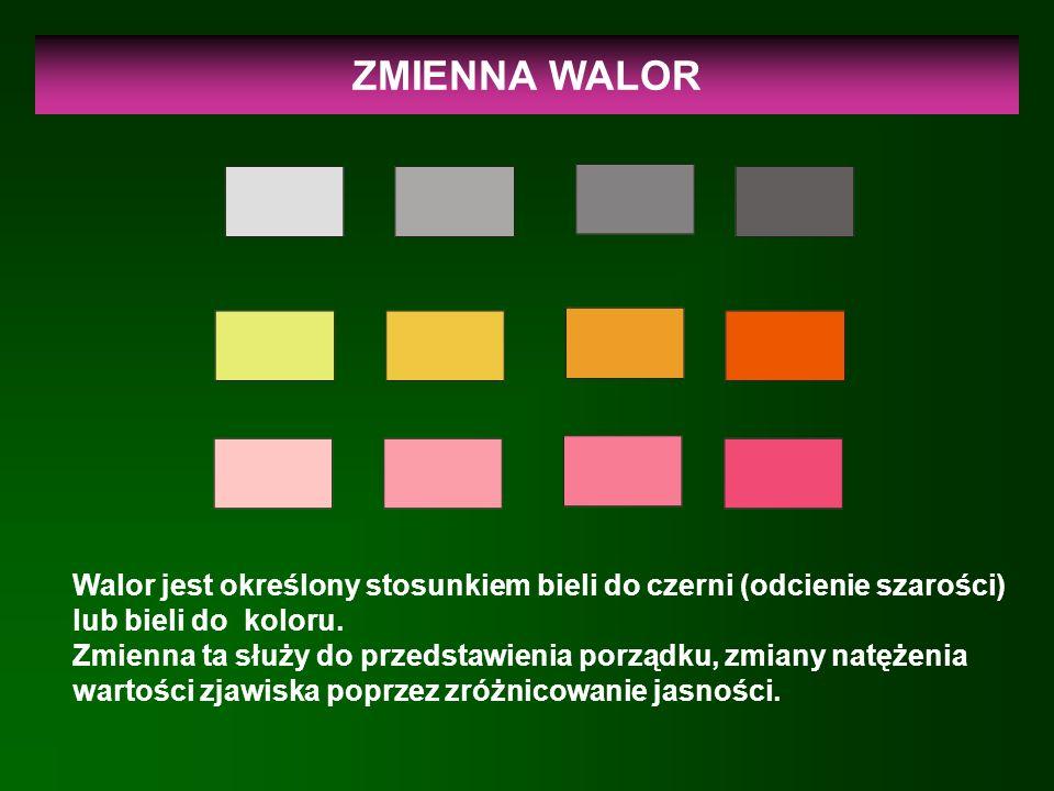 ZMIENNA WALOR Walor jest określony stosunkiem bieli do czerni (odcienie szarości) lub bieli do koloru. Zmienna ta służy do przedstawienia porządku, zm