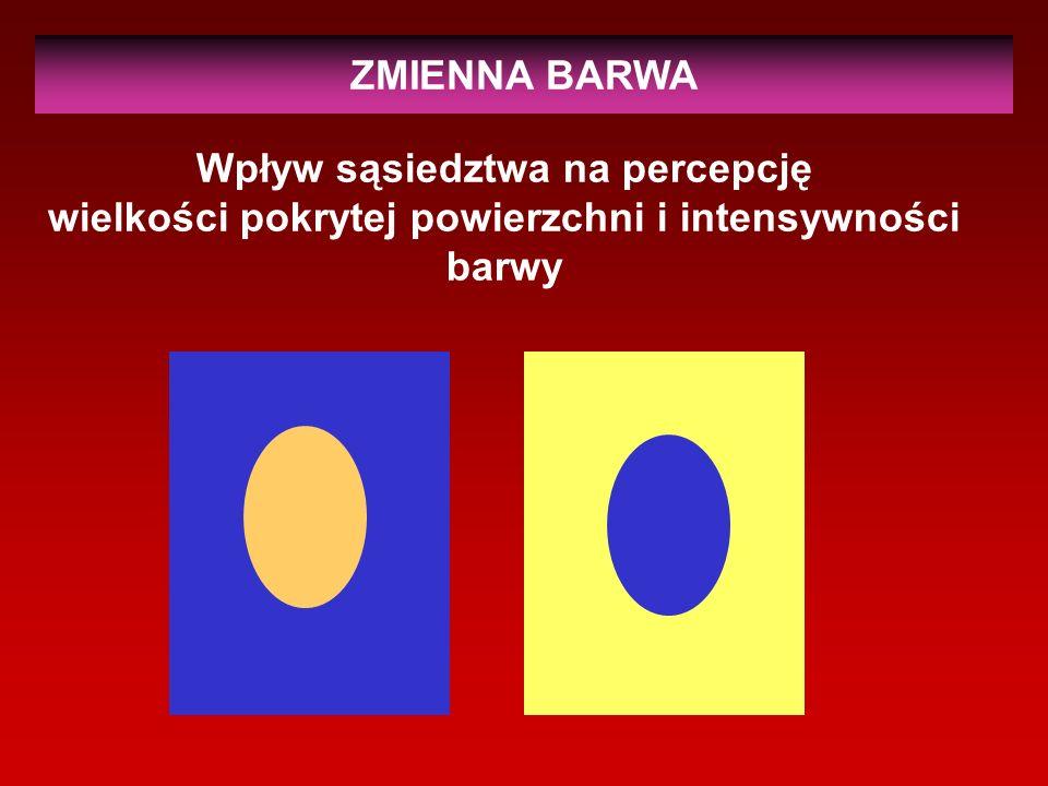 ZMIENNA BARWA Wpływ sąsiedztwa na percepcję wielkości pokrytej powierzchni i intensywności barwy