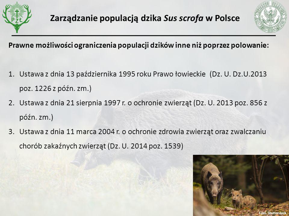 Prawne możliwości ograniczenia populacji dzików inne niż poprzez polowanie: 1.Ustawa z dnia 13 października 1995 roku Prawo łowieckie (Dz.