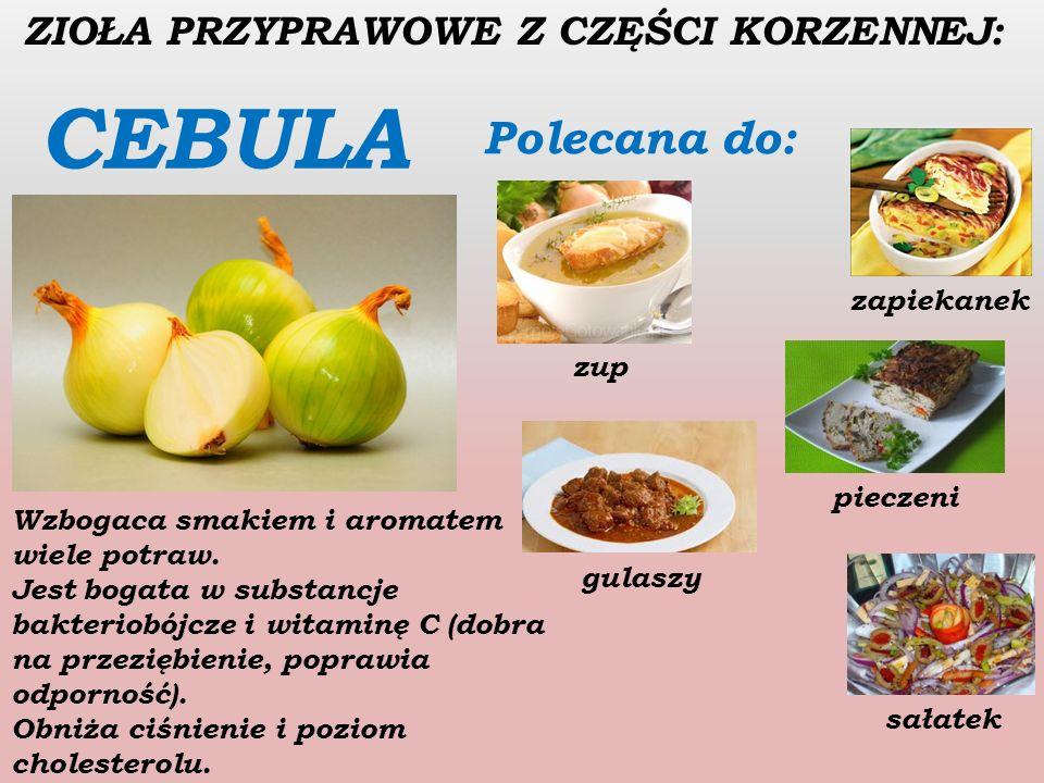 ZIOŁA PRZYPRAWOWE Z CZEŚCI KORZENNEJ: CZOSNEK Polecany do: mięswarzyw sosówryb masła czosnkowego Jest źródłem witaminy C,B oraz żelaza i magnezu.
