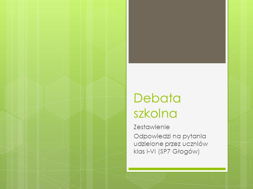 Debata szkolna Zestawienie Odpowiedzi na pytania udzielone przez uczniów klas I-VI (SP7 Głogów)