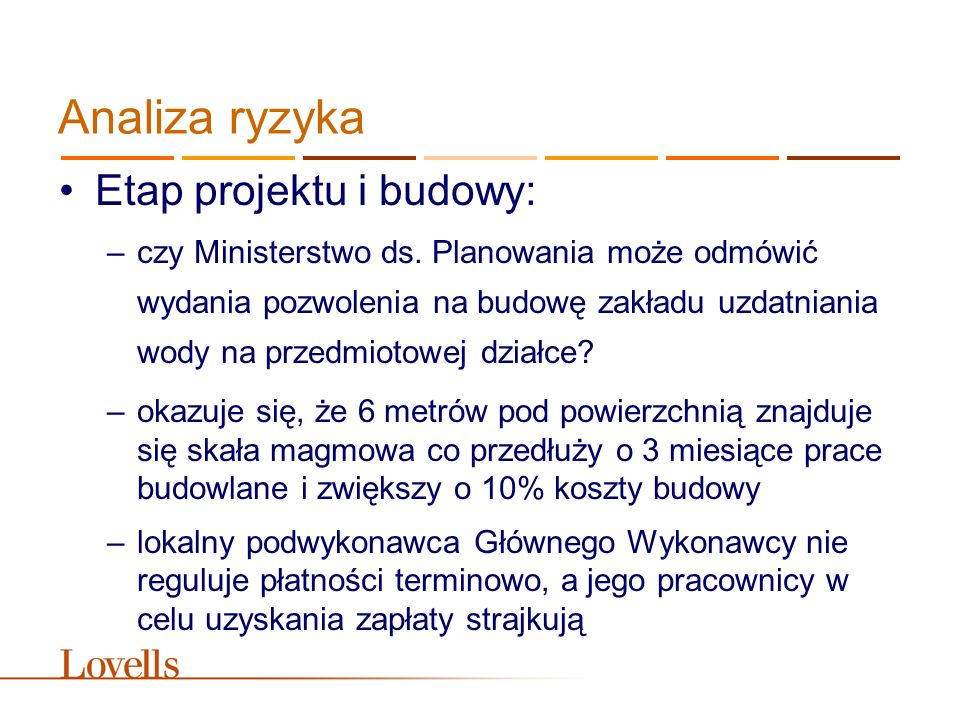 Analiza ryzyka Etap projektu i budowy: –czy Ministerstwo ds.