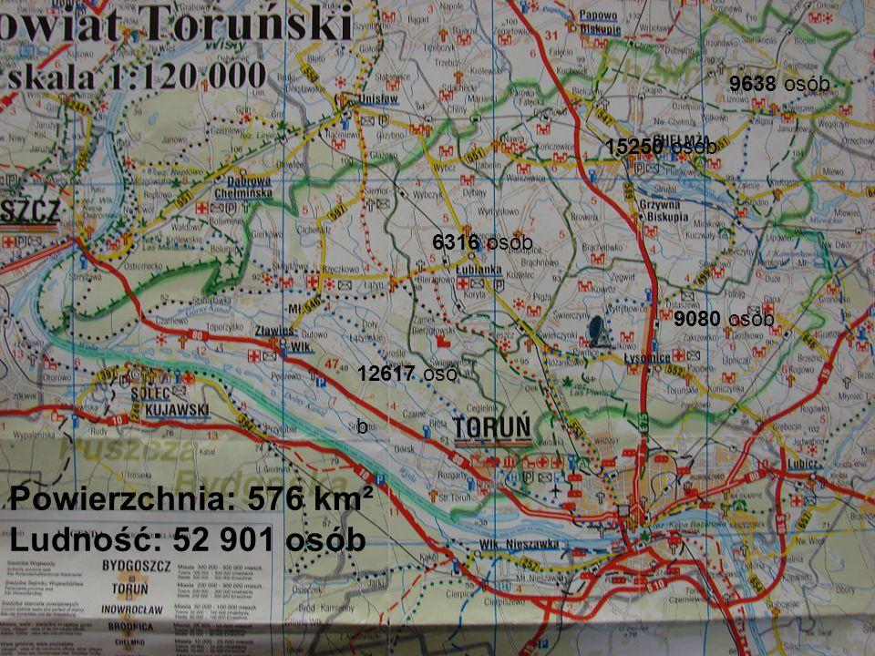 Powierzchnia: 576 km² Ludność: 52 901 osób 12617 osó b 6316 osób 9080 osób 9638 osób 15250 osób