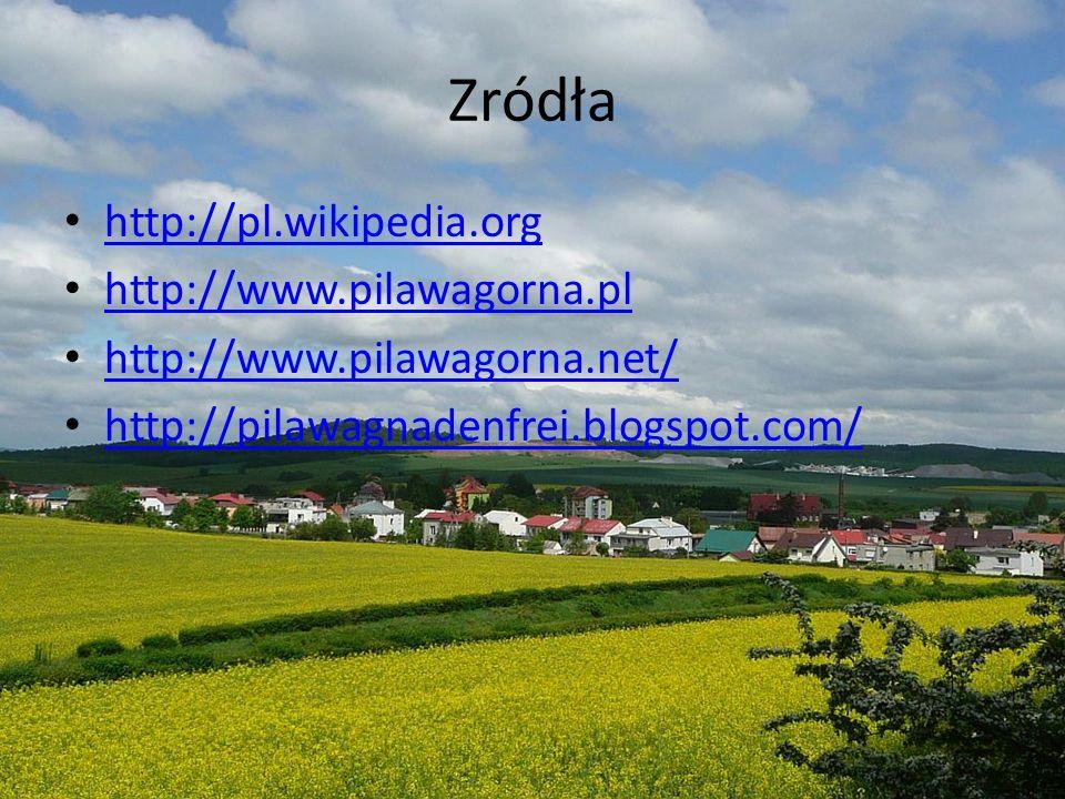 Zródła http://pl.wikipedia.org http://www.pilawagorna.pl http://www.pilawagorna.net/ http://pilawagnadenfrei.blogspot.com/