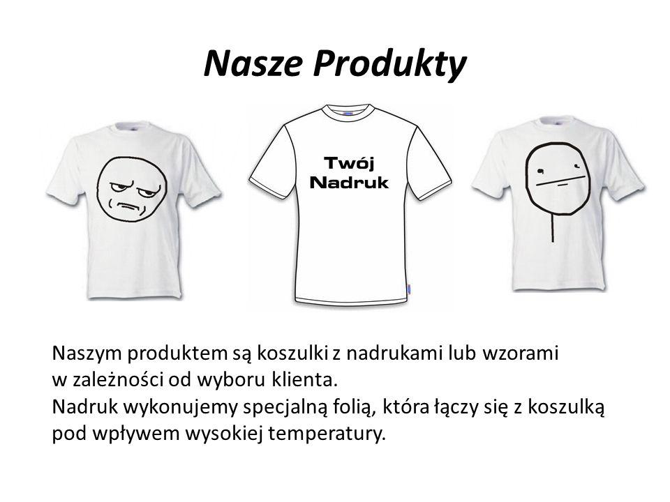 Nasze Produkty Naszym produktem są koszulki z nadrukami lub wzorami w zależności od wyboru klienta.