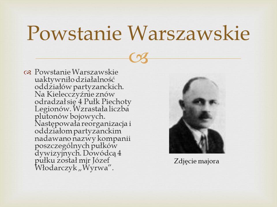  Powstanie Warszawskie  Powstanie Warszawskie uaktywniło działalność oddziałów partyzanckich.