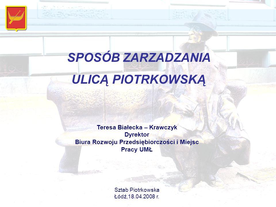 Teresa Białecka – Krawczyk Dyrektor Biura Rozwoju Przedsiębiorczości i Miejsc Pracy UMŁ Sztab Piotrkowska Łódź,18.04.2008 r.