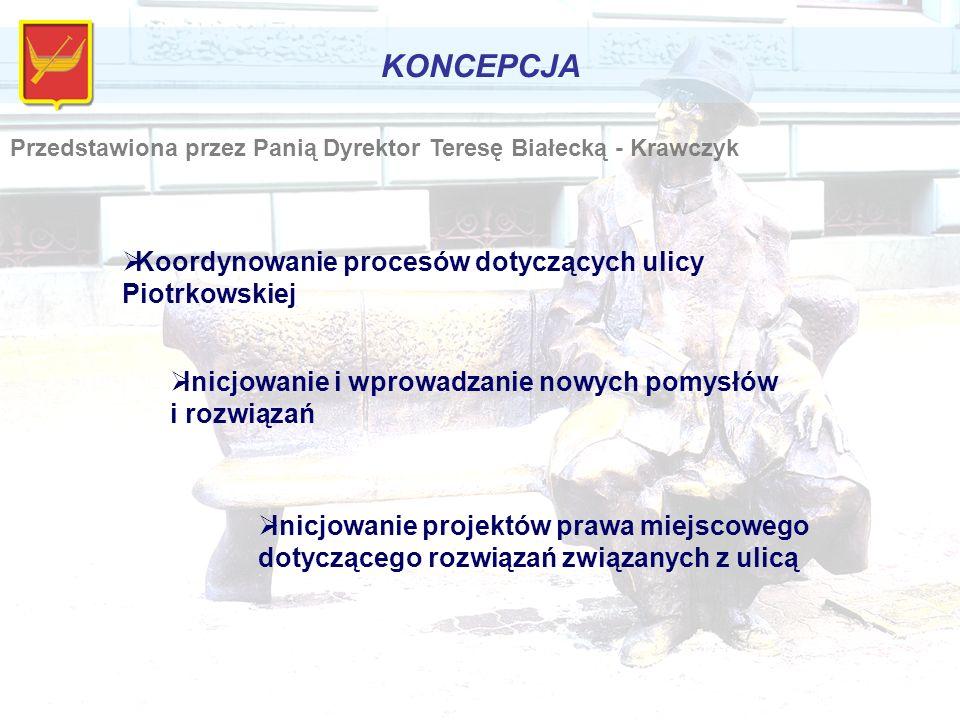 KONCEPCJA Przedstawiona przez Panią Dyrektor Teresę Białecką - Krawczyk  Koordynowanie procesów dotyczących ulicy Piotrkowskiej  Inicjowanie i wprowadzanie nowych pomysłów i rozwiązań  Inicjowanie projektów prawa miejscowego dotyczącego rozwiązań związanych z ulicą