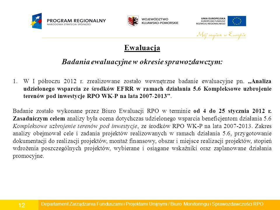 Departament Polityki Regionalnej/ Wydział Zarządzania RPO/ Biuro Monitoringu i Sprawozdawczości RPO 12 Ewaluacja Badania ewaluacyjne w okresie sprawoz