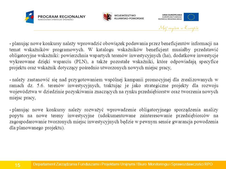 Departament Polityki Regionalnej/ Wydział Zarządzania RPO/ Biuro Monitoringu i Sprawozdawczości RPO 15 - planując nowe konkursy należy wprowadzić obowiązek podawania przez beneficjentów informacji na temat wskaźników programowych.