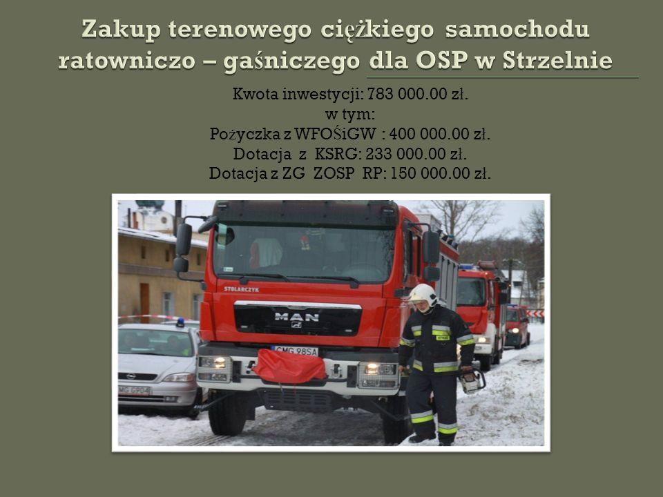 Kwota inwestycji: 783 000.00 z ł. w tym: Po ż yczka z WFO Ś iGW : 400 000.00 z ł.