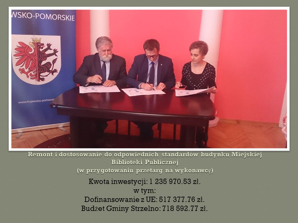 Kwota inwestycji: 1 235 970.53 z ł. w tym: Dofinansowanie z UE: 517 377.76 z ł.