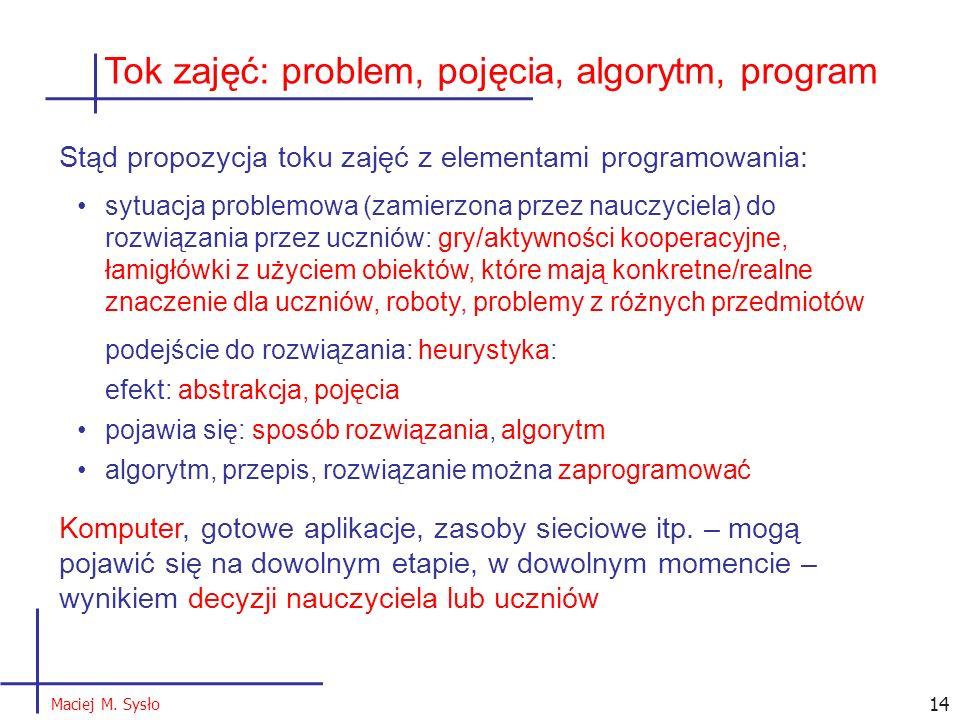 Tok zajęć: problem, pojęcia, algorytm, program Stąd propozycja toku zajęć z elementami programowania: sytuacja problemowa (zamierzona przez nauczyciela) do rozwiązania przez uczniów: gry/aktywności kooperacyjne, łamigłówki z użyciem obiektów, które mają konkretne/realne znaczenie dla uczniów, roboty, problemy z różnych przedmiotów podejście do rozwiązania: heurystyka: efekt: abstrakcja, pojęcia pojawia się: sposób rozwiązania, algorytm algorytm, przepis, rozwiązanie można zaprogramować Komputer, gotowe aplikacje, zasoby sieciowe itp.