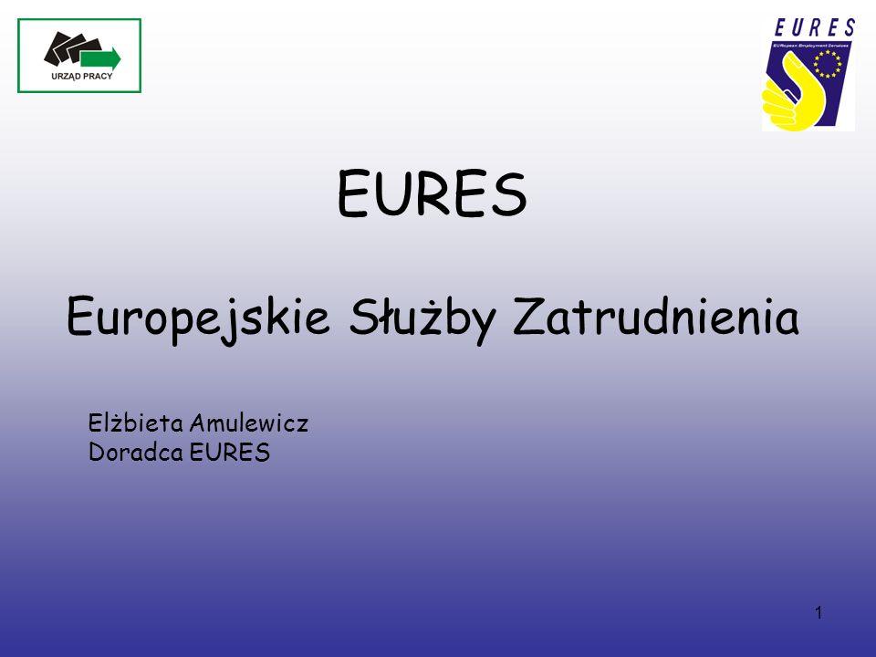 2 EURES – European Employment Services (Europejskie Służby Zatrudnienia) Sieć współpracy Publicznych Służb Zatrudnienia oraz innych organizacji regionalnych, krajowych i międzynarodowych, działających w obszarze zatrudnienia, (takich jak związki zawodowe, organizacje pracodawców, władze lokalne i regionalne) wspierająca mobilność pracowników na poziomie międzynarodowym i transgranicznym w krajach Europejskiego Obszaru Gospodarczego (EOG - kraje UE oraz Norwegia, Islandia i Lichtenstein) oraz Szwajcarii