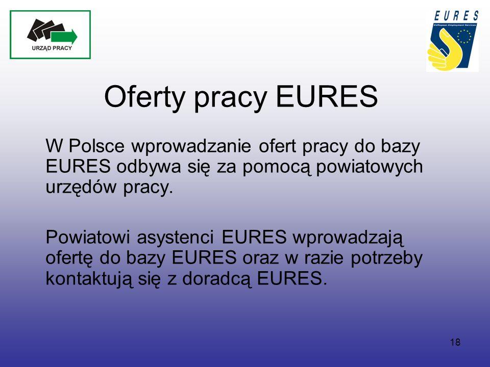 18 Oferty pracy EURES W Polsce wprowadzanie ofert pracy do bazy EURES odbywa się za pomocą powiatowych urzędów pracy.