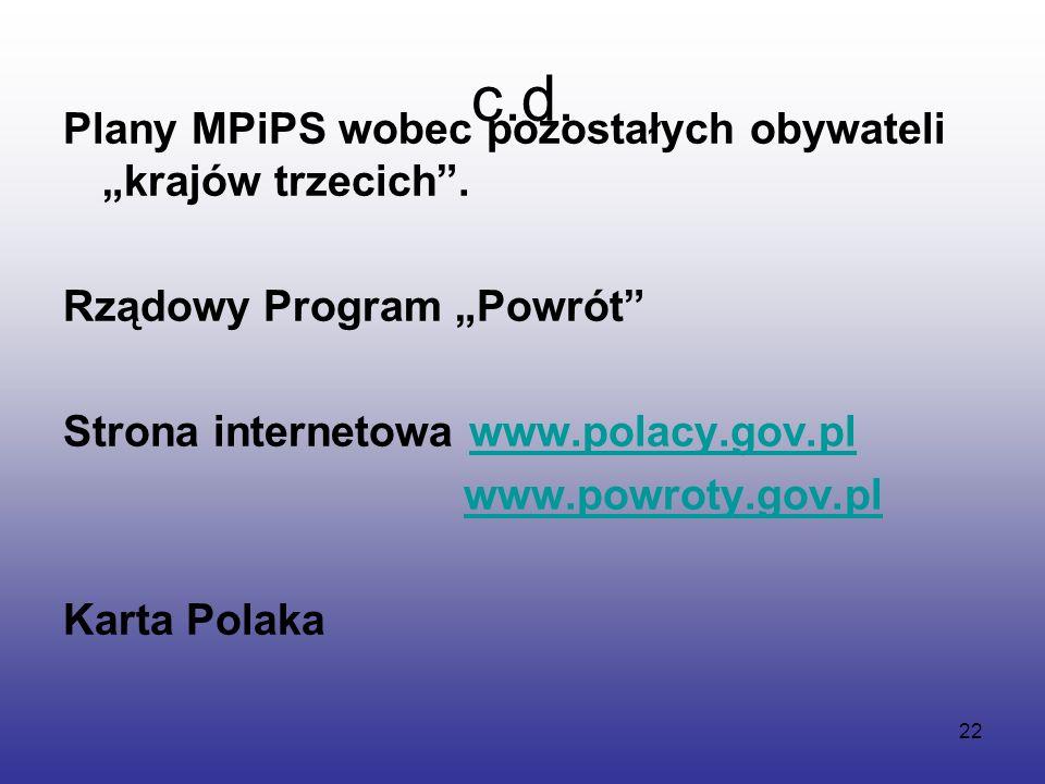 """22 c.d. Plany MPiPS wobec pozostałych obywateli """"krajów trzecich ."""